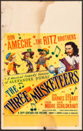 "Movie Posters:Swashbuckler, The Three Musketeers (20th Century Fox, 1939). Window Card (14"" X 22""). Swashbuckler.. ..."