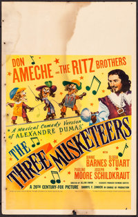 "The Three Musketeers (20th Century Fox, 1939). Window Card (14"" X 22""). Swashbuckler"