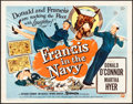 "Movie Posters:Comedy, Francis in the Navy (Universal International, 1955). Half Sheet (22"" X 28"") Style B. Comedy.. ..."
