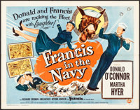 """Francis in the Navy (Universal International, 1955). Half Sheet (22"""" X 28"""") Style B. Comedy"""