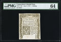 Colonial Notes:Connecticut, Connecticut June 7, 1776 1s PMG Choice Uncirculated 64.. ...