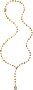 Estate Jewelry:Necklaces, Multi-Stone, Diamond, Gold Necklace, LeVian. ...