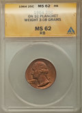 Errors, 1964 25C Quarter -- Struck on Cent Planchet -- MS62 Red and Brown ANACS. 3.08 gm....
