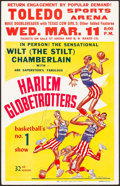 "Movie Posters:Sports, Wilt Chamberlain with The Harlem Globetrotters (Abe Saperstein, 1959). Basketball Exhibition Window Card (14"" X 22"") Willard..."