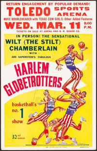 "Wilt Chamberlain with The Harlem Globetrotters (Abe Saperstein, 1959). Basketball Exhibition Window Card (14"" X 22&..."