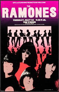 """The Ramones Live at The Vogue (BRS Co., 1983). Concert Window Card (12.5"""" X 19.5""""). Rock and Roll"""