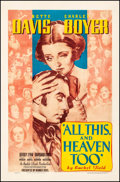 """Movie Posters:Drama, All This, and Heaven Too (Warner Brothers, 1940). One Sheet (27"""" X41""""). Drama.. ..."""