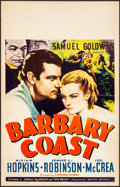 "Movie Posters:Drama, Barbary Coast (United Artists, 1935). Window Card (14"" X 22"").Drama.. ..."