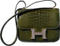 Luxury Accessories:Bags, Hermes Limited Edition 18cm Shiny Vert Veronese Alligator &Agate Lizard Double Gusset Marquette Constance Bag with GoldHardw...