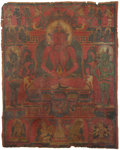 Asian:Chinese, A Rare Tibetan Thangka Depicting a Seated Amitayus and AssociatedDeities, 13th-14th century . 24-1/2 inches high x 19-1...