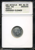 Coins of Hawaii: , 1883 10C Hawaii Ten Cents AU50--Corroded, Cleaned--ANACS, UNCDetails....