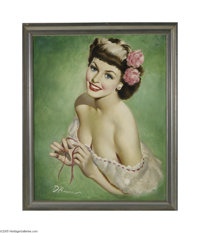 EDWARD D'ANCONA (American 20th Century) Original Pin-Up, Calendar Illustration Oil on canvas 16in. x 20in. Signed low