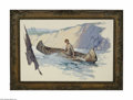 Fine Art:Paintings, WILLIAM HENRY DETHLEF KOERNER (American 1878- 1938) Woman in aCanoe Oil on board 25.5in x 37.5in Initialled lower right...