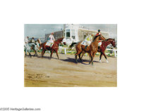 TOM LOVELL (American 1901-1997) Leading Out Original Illustration, 1974 Gouache on board 6in. x 8.5in. (sight size) &...