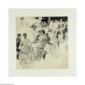 Fine Art:Paintings, ORSON LOWELL (American 1871- 1956) At the Ball Pen and ink on paper21.5in. x 18in. Signed center right Condition Rep...