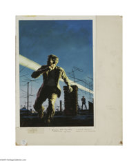 JOHN MCDERMOTT (American 1919-1977) Original Paperback Book Cover Illustration Sole Survivor by Louis Falstein Gouache...
