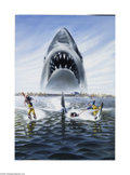 Original Illustration Art:Mainstream Illustration, GARY MEYER (20th Century) Original Movie Poster Illustration Jaws3-D, 1983 Mixed-media on board 40in. x 28in. (sigh...