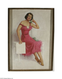 ZOE MOZERT (American 1904-1993) Original Illustration Red Dress Pastel on board 38in. x 26in. Signed lower left: Z