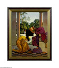 Original Illustration Art:Mainstream Illustration, MAXFIELD PARRISH (American 1870-1966) Lady Ursala Kneeling BeforePompdebile, King of Hearts from Knave of Hearts, 1925 ...