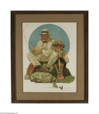 NORMAN ROCKWELL (American 1894- 1978) Catching the Big One Lithograph on paper 34.5in. x 26.5in. Signed lower right Art...