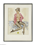 Original Illustration Art:Pin-up and Glamour Art, FRITZ WILLIS (American d.1979) Original Pin-Up PreliminaryIllustration Oil on board 10in. x 8in. (sight size) Initia...