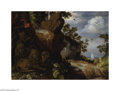 Paintings, ROELANDT JACOBSZ SAVERY (Dutch 1576-1639). Landscape with Lions. Oil on panel. 17.5in. x 24.75in.. Signed bottom center: Roe...