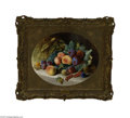 Fine Art:Paintings, ROBERT NIGHTINGALE (British 1815 - 1895) Still Life with Fruit Oilon canvas 13.5in. x 17in. Signed lower right Condi...