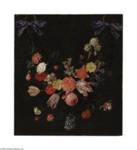 CHRISTIAAN LUYCKS (Belgian 1623 - 1653) A Garland of Flowers Oil on canvas 22.5in. x 20.25in. The painting is accompani...