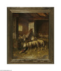 Fine Art:Paintings, EUROPEAN SCHOOL (19th Century) Sheep in Barn Oil on panel 20.75in.x 16.5in. Signed lower right 'L. Fotta' Condition ...