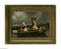 Fine Art:Paintings, DUTCH SCHOOL (19th Century) Figures in a Boat Oil on canvas 14in. x20in. Condition Report: Unlined original canvas, c...