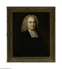 Attributed to WILLIAM HOGARTH (British 1697-1764) Portrait of Rev. Curwen Hudleston Oil on canvas 30.5in. x 25in. Label...