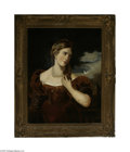 Fine Art:Paintings, ENGLISH SCHOOL (18th-19th Century) Portrait of a Young Lady Oil oncanvas 36in. x 28in. Condition Report: Unlined orig...