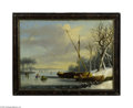 Fine Art:Paintings, DUTCH SCHOOL (19th Century) Skating Scene Oil on canvas 15in. x20in. Condition Report: Wax-lined canvas, 2 large (3in...