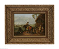 Paintings, Attributed to JOHANNES LINGELBACH (Dutch 1622-1674). Stopping for Water. Oil on panel. 13.25in. x 17.75in.. Signed with conj...