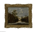 Fine Art:Paintings, DUTCH SCHOOL (18th Century) Along the Canal Oil on panel 16.75in. x20.25in. Condition Report: Panel appears to have b...