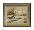 Fine Art:Paintings, AMERICAN SCHOOL (19th Century) Winter Scene Oil on canvas 17.5in. x22in. Signed indistinctly lower left Condition Re...