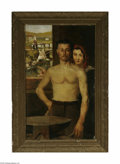 Fine Art:Paintings, EUROPEAN SCHOOL (19th-20th Century) Man and Woman with Window Oilon canvas 38in. x 23.5in. Signed indistinctly lower ri...