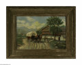Fine Art:Paintings, EUROPEAN SCHOOL (19th Century) Departing Carriage Oil on canvas20in. x 29.5in. Condition Report: Original unlined can...