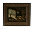 Fine Art:Paintings, AMERICAN SCHOOL (19th Century) Barnyard Scene Oil on canvas22.75in. x 29in. Condition Report: Original unlined canvas...