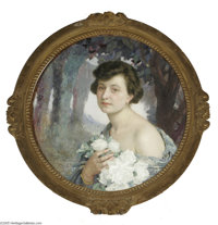 EDGARD MAXENCE (French 1871- 1954) Portrait Champetre, 1922 Oil on panel 27.5in dia. Signed and dated lower left  Cond...