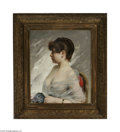 Fine Art:Paintings, CHARLES CHAPLIN (French 1825-1891) Portrait of a Young Woman Oil oncanvas 25.5in. x 21.5in. Signed lower right Condi...