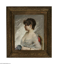 CHARLES CHAPLIN (French 1825-1891) Portrait of a Young Woman Oil on canvas 25.5in. x 21.5in. Signed lower right  Condi...