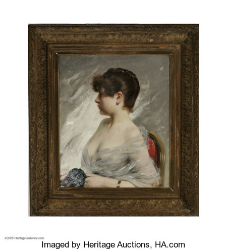 CHARLES CHAPLIN (French 1825-1891)Portrait of a Young WomanOil on canvas25.5in. x 21.5in.Signed lower rightCondi...