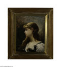 Fine Art:Paintings, JULES ELIE DELAUNAY (French 1828-1891) Peasant Girl, 1890 Oil oncanvas 16in. x 13in. Signed and dated top left Condi...