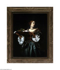 Fine Art:Paintings, EUROPEAN SCHOOL (19th Century) Woman with Bowl of Fruit Oil oncanvas 36in. x 28in. Condition Report: Canvas has been ...