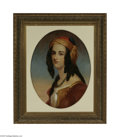 Fine Art:Paintings, FRENCH SCHOOL (19th Century) Orientalist Portrait of a Girl Oil onboard 25in. x 19.5in. Condition Report: Significant...