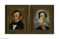 Fine Art:Paintings, DUTCH SCHOOL (19th Century) Portrait of a Man and Woman (pair) Oilon canvas laid down on board 13.25in. x 9.25in. Signe... (2 Items)