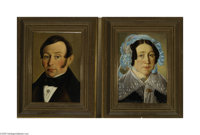 DUTCH SCHOOL (19th Century) Portrait of a Man and Woman (pair) Oil on canvas laid down on board 13.25in. x 9.25in. Signe...