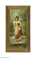 Fine Art:Paintings, HANS ZATZKA (Austrian 1859- 1945) Girls in Native Dress (pair)23in. x 9.75in. each Signed lower right Inscribed in Germ... (2Items)