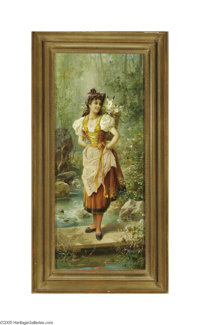 HANS ZATZKA (Austrian 1859- 1945) Girls in Native Dress (pair) 23in. x 9.75in. each Signed lower right Inscribed in Germ...